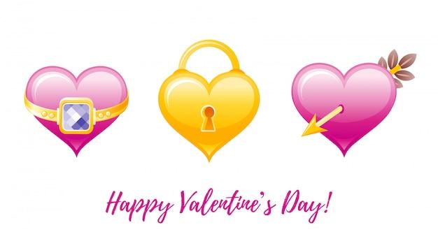 Desenhos animados feliz dia dos namorados saudações com ícones dos namorados - coração com anel, fechadura, coração com flecha.