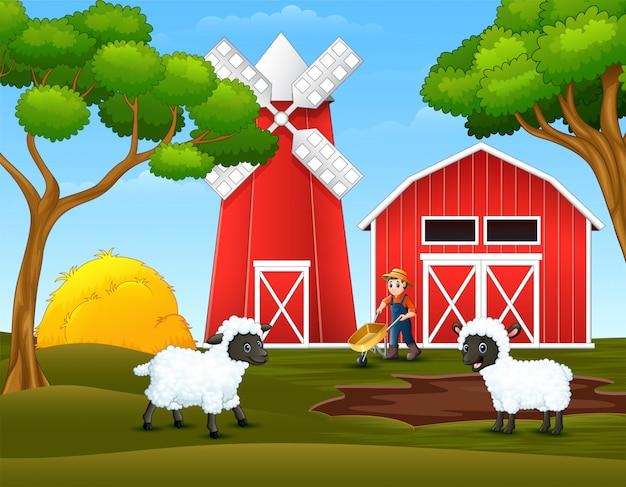 Desenhos animados feliz fazendeiro e ovelhas na fazenda