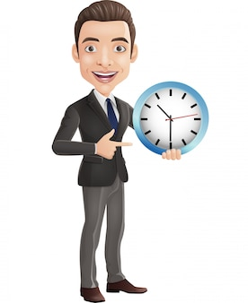 Desenhos animados feliz jovem empresário segurando e apontando um relógio de parede