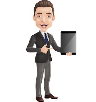 Desenhos animados feliz jovem empresário segurando um tablet