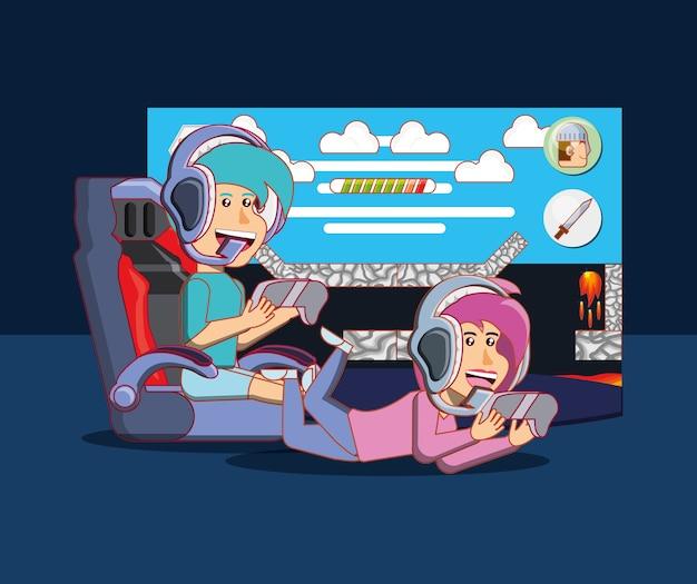 Desenhos animados feliz menino e menina jogando videogame sobre fundo preto