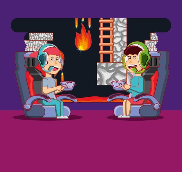 Desenhos animados feliz menino e menina jogando videogames de aventura