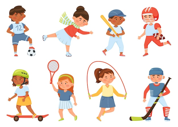 Desenhos animados felizes crianças em idade escolar praticam esportes e exercícios infantis, beisebol, tênis, conjunto de vetores