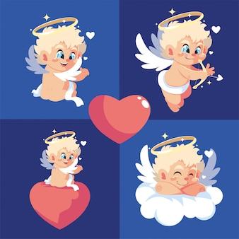 Desenhos animados felizes cupidos loiros dia dos namorados