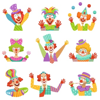 Desenhos animados felizes de palhaços amigáveis personagens ilustrações coloridas em um fundo branco