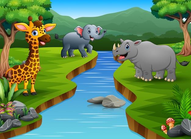 Desenhos animados felizes do animal que apreciam no beira-rio