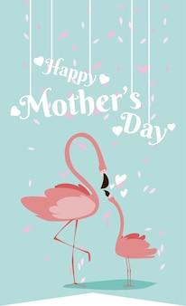 Desenhos animados felizes do flamingo do dia das mães