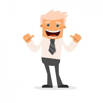 Desenhos animados felizes do homem de negócios