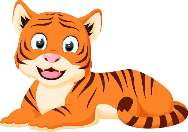 Desenhos animados felizes do tigre que relaxam