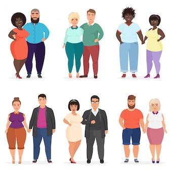 Desenhos animados felizes e sorridentes, além de casais de pessoas de tamanho. homem e mulher. pessoas curvas e gordas com excesso de peso em roupas casuais.