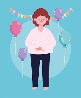 Desenhos animados felizes homem comemorando bandeirolas de balões de festa