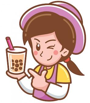 Desenhos animados feminino apresentando chá de bolha
