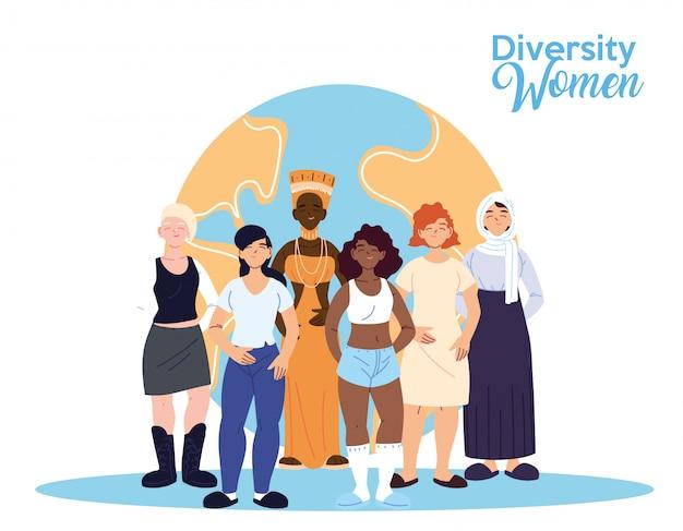 Desenhos animados femininos na frente do design mundial, tema da diversidade cultural e de amizade