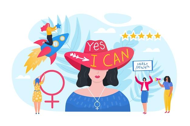 Desenhos animados feministas feministas com poder feminino