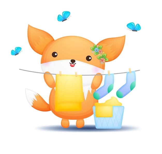 Desenhos animados fofos doodle bebê raposa secando roupas