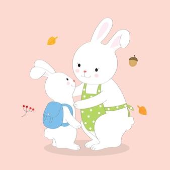 Desenhos animados fofos mãe e coelhos de bebê ir para a escola