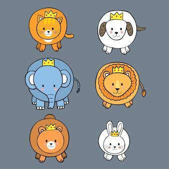 Desenhos animados fofos rei animais.