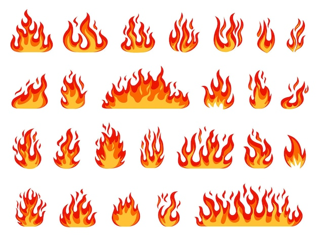 Desenhos animados fogueira com chamas, bolas de fogo, velas acesas ou tocha, conjunto de vetores de fogo ardente