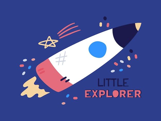 Desenhos animados foguete plana, nave espacial voando. ilustração plana com texto pequeno explorador sobre fundo azul.