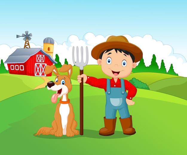 Desenhos animados garotinho e cachorro na fazenda