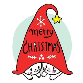 Desenhos animados gatos fofos de natal e feliz ano novo em vetor de chapéu de gnomo