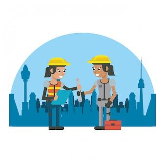 Desenhos animados geométricos dos trabalhadores da construção