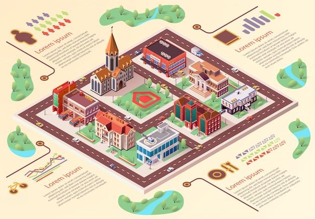 Desenhos animados grandes do infographics da disposição da cidade da bandeira lisa.