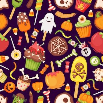 Desenhos animados halloween trata doces, doces, padrão sem emenda, olho assustador, pirulito, fantasma, textura vetorial
