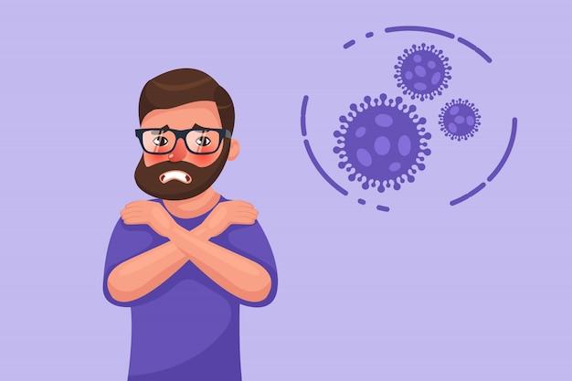 Desenhos animados hipster barbudo jovem com sintoma de calafrios de coronavírus. personagem de estilo simples