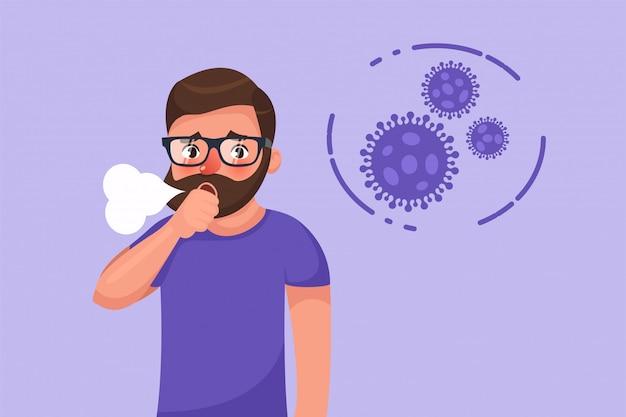 Desenhos animados hipster barbudo jovem com sintoma de tosse seca de coronavírus.