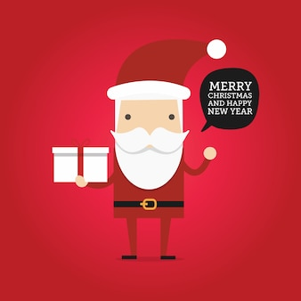 Desenhos animados hipster papai noel segurando a caixa de presente. feliz natal e feliz ano novo cartão