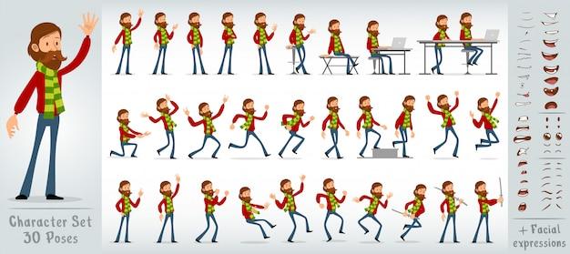 Desenhos animados hipster plana menino personagem grande vetor definido