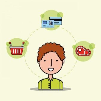 Desenhos animados homem cliente cesta carne e cartões bancários