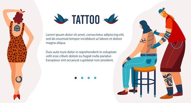 Desenhos animados homem mulher tatuada personagens hipster visitam salão de beleza