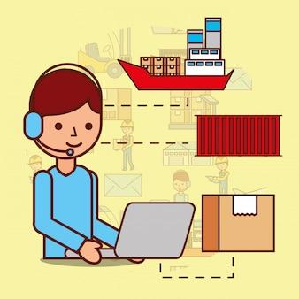 Desenhos animados homem operador fone de ouvido e laptop caixa contêiner barco