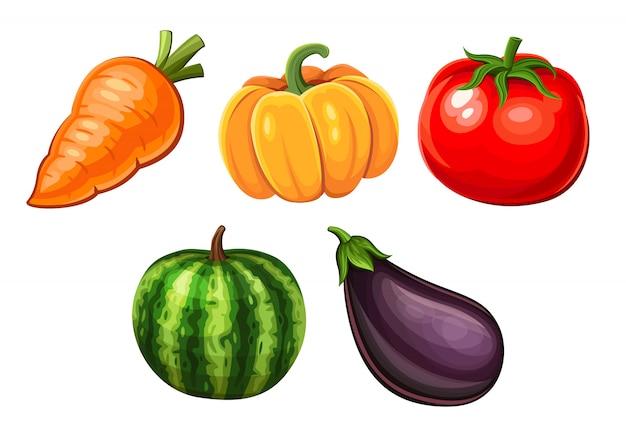 Desenhos animados ícones de legumes
