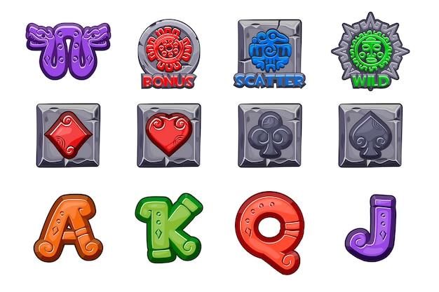Desenhos animados ícones de pedra maya slots. símbolos de vetor da mitologia mexicana antiga. totem nativo da cultura maia e asteca americana. cassino de jogo, caça-níqueis, interface do usuário. defina ícones em camadas separadas.