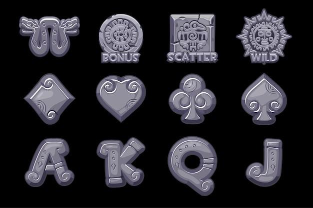Desenhos animados ícones de pedra maya slots.