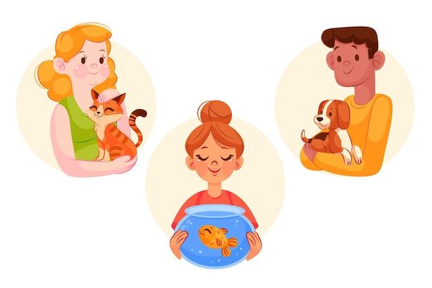 Desenhos animados ilustrados com animais de estimação