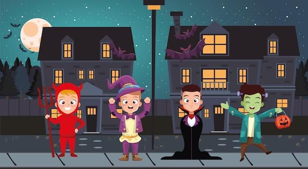 Desenhos animados infantis de meninos de halloween com fantasias em frente às casas, férias e tema assustador