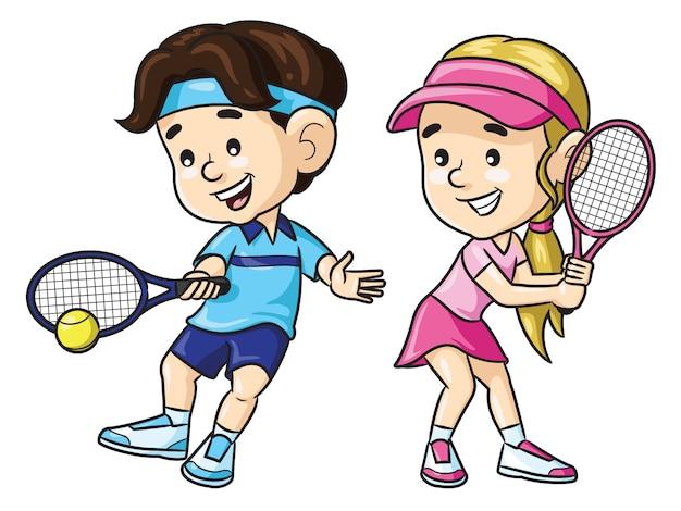 Desenhos animados infantis do jogador de tênis