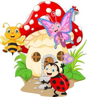 Desenhos animados insetos engraçados com casa de cogumelo