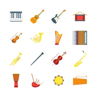 Desenhos animados insrtuments musical color icons set símbolo da orquestra música banda violino, guitarra, tambor e trompete. ilustração vetorial