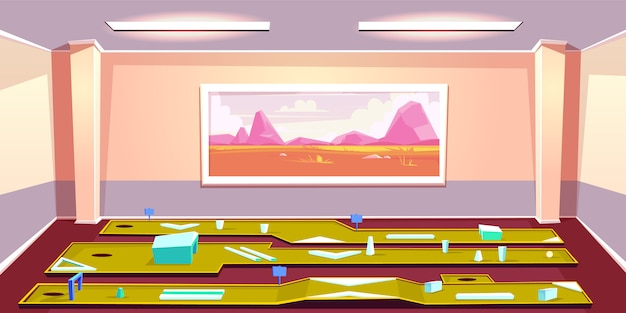 Desenhos animados internos do mini clube de golfe. várias linhas de colocação com obstáculos e buraco no quarto espaçoso