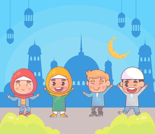 Desenhos animados islâmicos de ramadan kareem crianças felizes