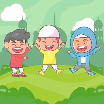 Desenhos animados islâmicos do ramadan kareem de crianças felizes