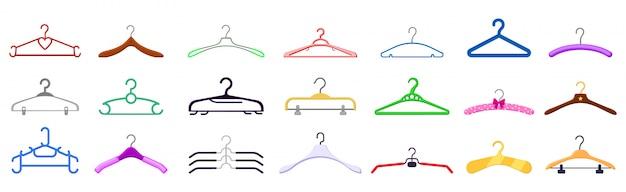 Desenhos animados isolados cabide definir ícone. desenhos animados definir ícone equipamentos de pano. cabide de ilustração.