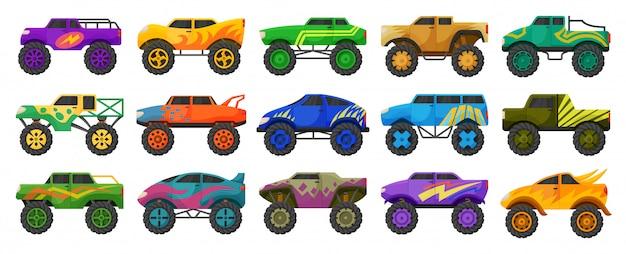 Desenhos animados isolados caminhão monstro ícone definido. desenhos animados definir ícone carro.