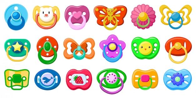 Desenhos animados isolados chupeta definir ícone. desenhos animados conjunto ícone chupeta. chupeta ilustração em fundo branco.