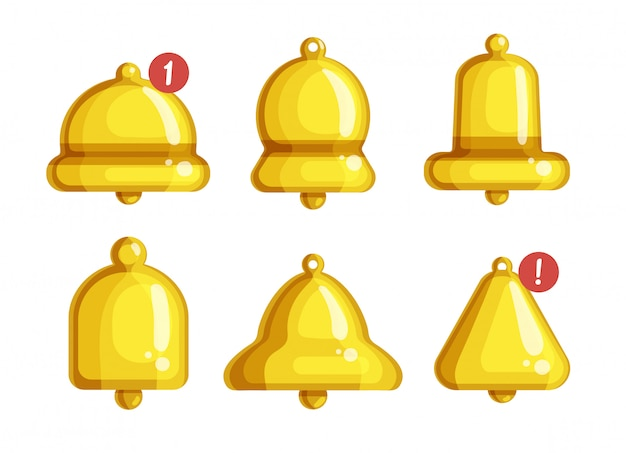 Desenhos animados isolados de notificação de sino definir ícone. aviso de ilustração sobre fundo branco. desenhos animados definir notificação de sino de ícone.